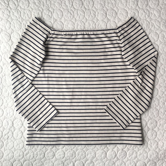 797bb80fde06 Theory Off The Shoulder Classic Stripe Knit Top